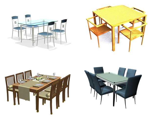 3d dinning table chairs zipped model