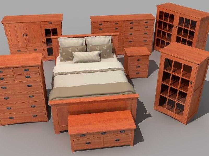 bedroom furniture set bed 3d model