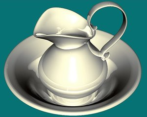 antique bowl pitcher 3d model