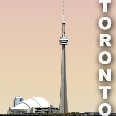 cn tower area toronto 3d model