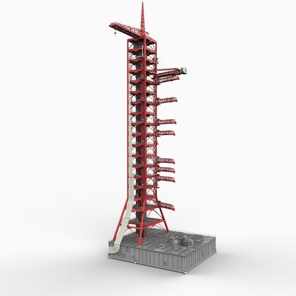 mobile launcher rocket apollo 3d model