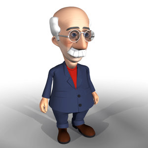 3d accountant grotesque personage