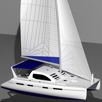 leopard 45 catamaran sail boat 3d max