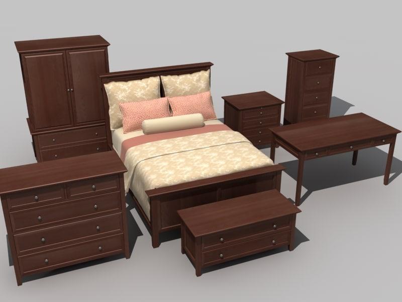 3ds bedroom furniture set bed