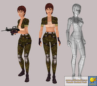 Realtime Game Lowpoly Female Model