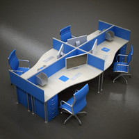 3d office desk space