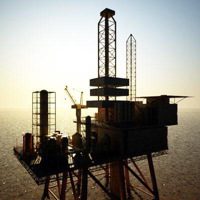 offshore fixed oil platform 3d model