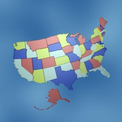 3d usa states model