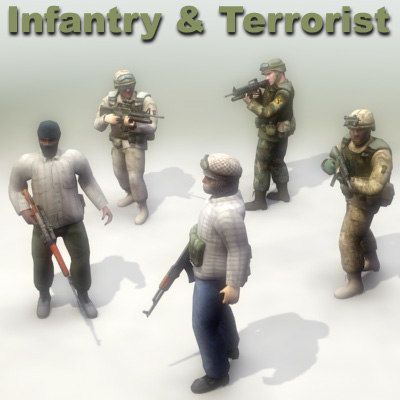 infantry insurgent character 3d max