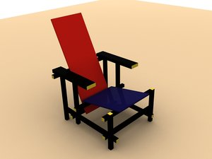 gerrit rietveld red-blue chair 3d dxf