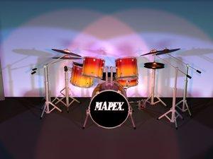 3d model kit drum sets