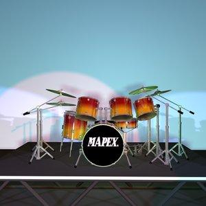 x series drum sets 3d model