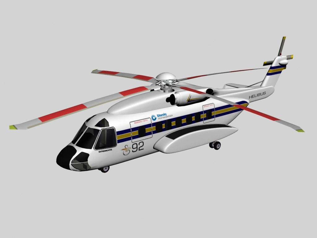 s-92 helibus helicopter sikorsky 3d model
