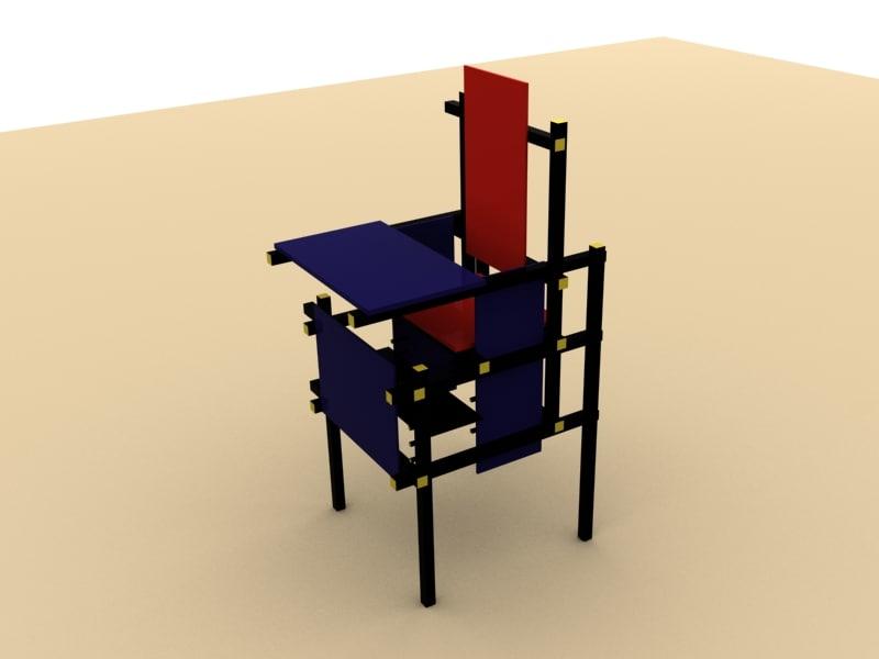 3ds max gerrit rietveld baby chair