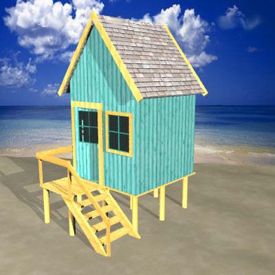 beach hut 3d model