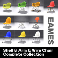 EAMES Shell/Wire/Arm Chair Set