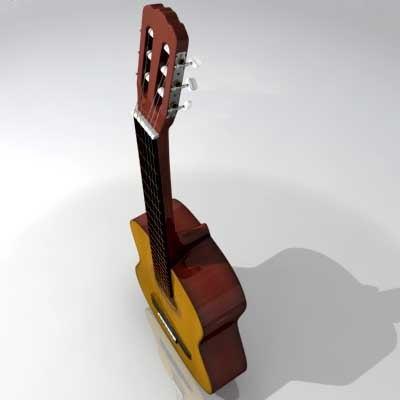 3d realistic classical guitar