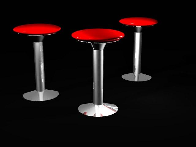 retro bar stools 3d 3ds