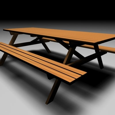 picnic table 3d c4d