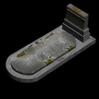 3d model grave cap stone