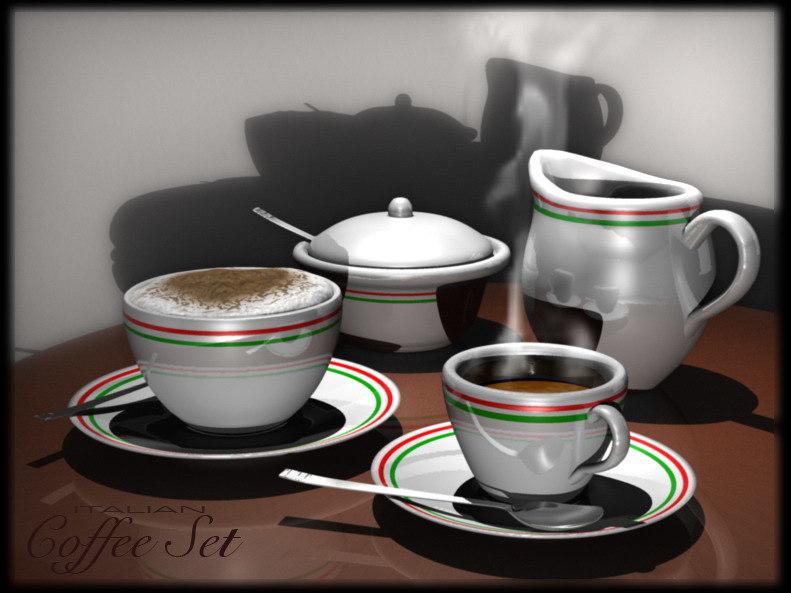 coffee set cup 3d model