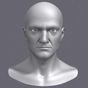 3d polygonal male head