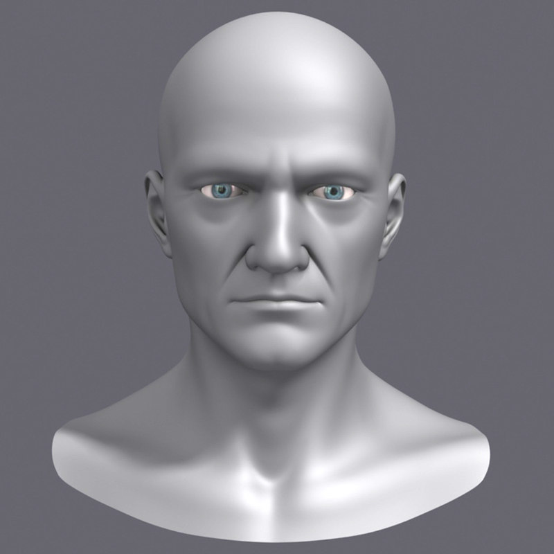 3d polygonal male head