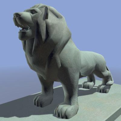 stone lion 3d model