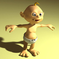 baby rigged biped 3d model