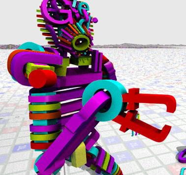 3d creature alphabet - rigged model