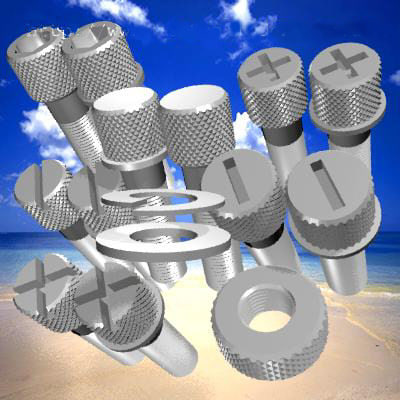 knurled nuts bolts 3d model