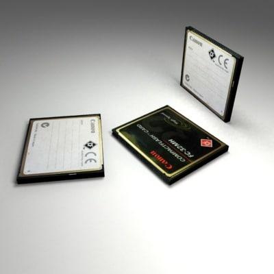 canon compact flash memory 3d model