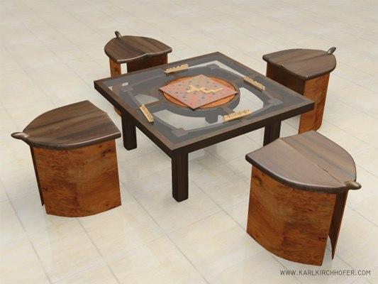 table stools modeled 3d model