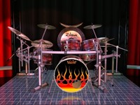 3d dark kit drum sets model