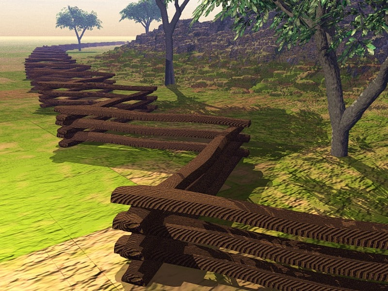 colonial stacked split rail fence 3d model