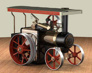mamod traction engine steam 3d model