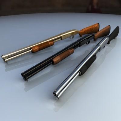 shotgun gold chrome 3d model