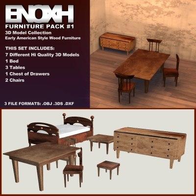 furniture pack 1 formats 3d model