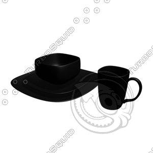 set black dishes coffee mug 3d model