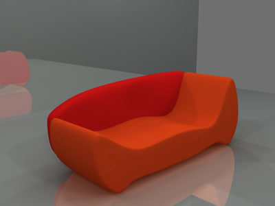 red orange sofa 3d max