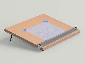 desktop drafting table 3d model