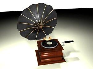 3d phonograph gramaphone model
