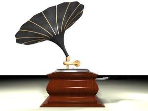 3d model phonograph gramaphone