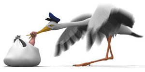 stork bird cartoon 3d model