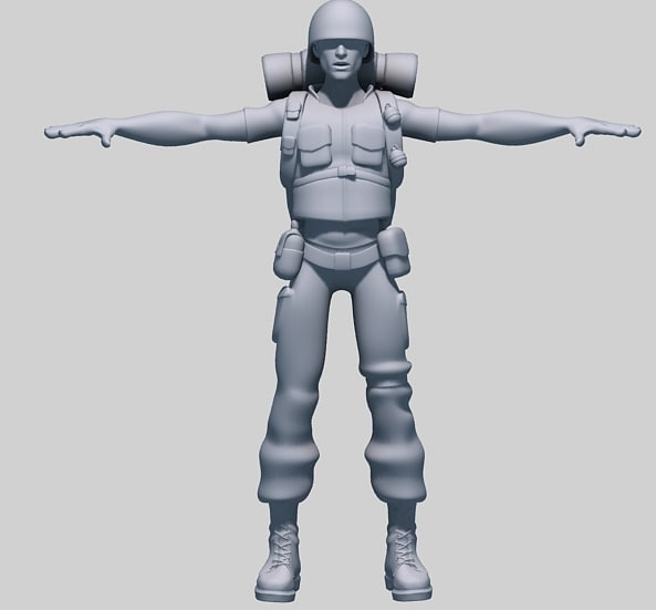 3d model of soldier character