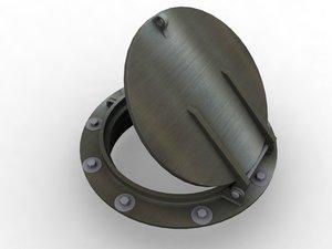 flap gate industrial manhole 3d model