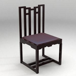 mackintosh chair 3d lwo
