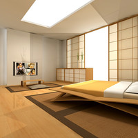 3d japanese bedroom interior model