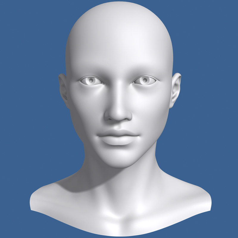 3d asian female head model