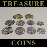 shipwreck treasure gold coins 3d max